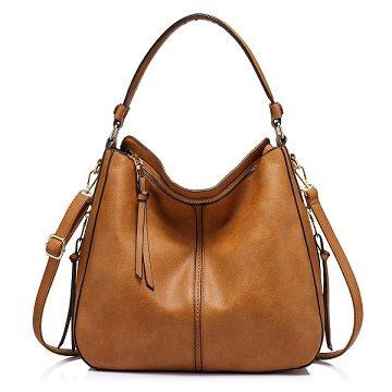 69a553755d1 Bolso de piel marrón Realer barato, por 32,99 euros. Descuento del 53%