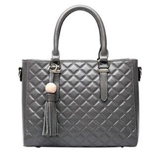 bolso de mano de cuero gris barato online