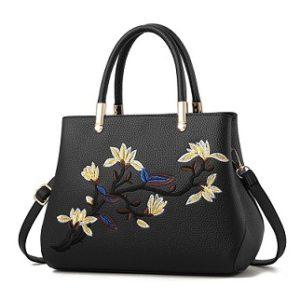 bolso negro con flores bordadas barato