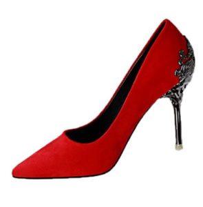 zapatos rojos de tacon alto baratos