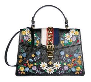 bolso bandolera gucci negro con flores