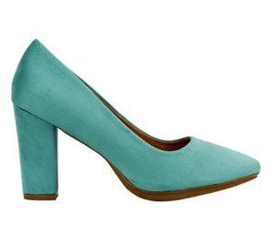 zapatos de tacon azul turquesa baratos