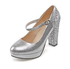 zapatos plateados de tacon ancho comprar online
