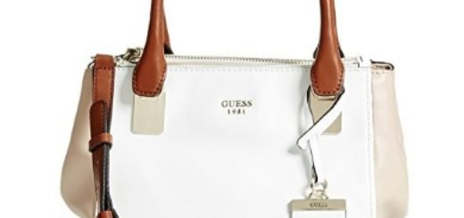bolso de mano guess blanco y marron