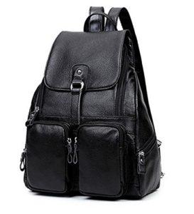 mochila de cuero mujer negra barata online