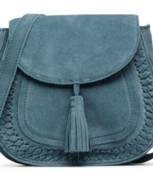 bolso de piel azul pieces comprar online barato