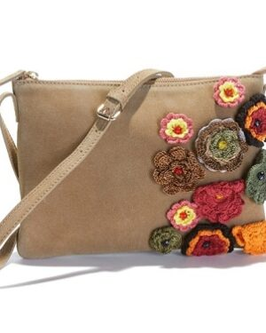 bolso de piel flores de croche comprar barato