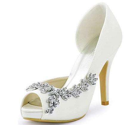 revisa c00be fb630 Zapatos de tacón blancos Peep Toe. Descuento del 31%