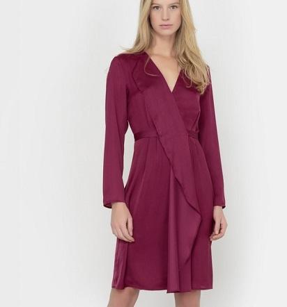 vestido mujer cruzado manga larga burdeos barato