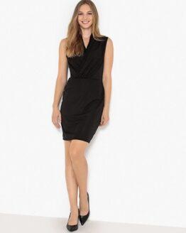 vestido negro con cuello cruzado comprar online