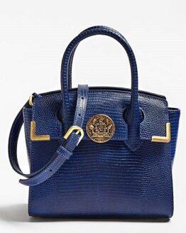 comprar bolso de mano guess de piel azul precio mas barato