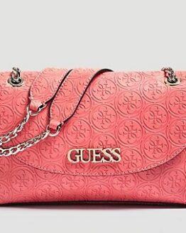 comprar bolso bandolera guess rosa heritage precio barato