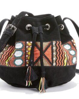 comprar bolso bucket de piel bordado precio barato online
