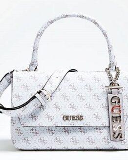 comprar bolso de mano guess blanco logo estampado barato